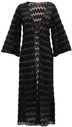 Missoni Mare Fluted-sleeve Chevron-striped Robe - Black