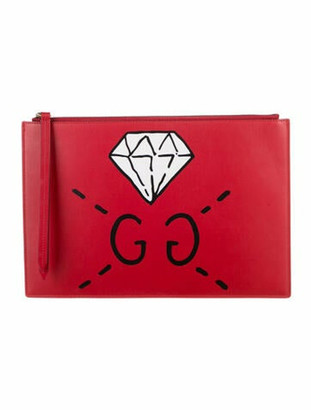Gucci Ghost Diamond Leather Pouch Red