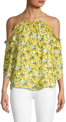 Parker Lemon-Printed Cold-Shoulder Blouse