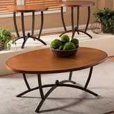 Baxton Studio Manchot Wood and Metal 3-piece Contemporary Table Set