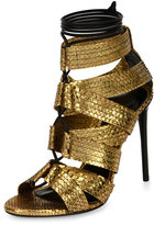 Tom Ford Python Lace-Up 105mm Sandal, Gold