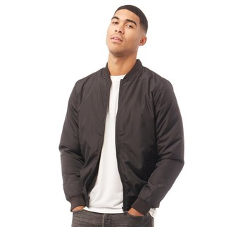 French Connection Mens Baseball Wad Tech Jacket Solid Black