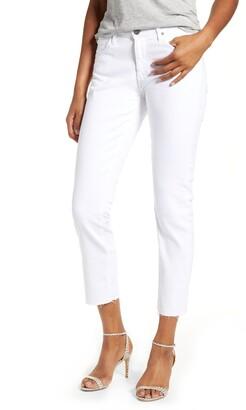 AG Jeans Prima Mid Rise Raw Hem Crop White Jeans