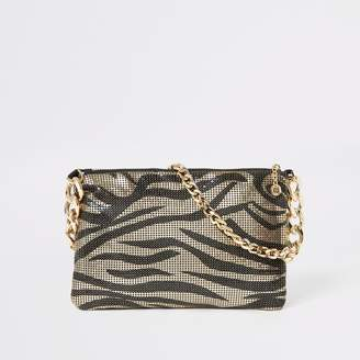 River Island Womens Gold animal print chainmail underarm bag