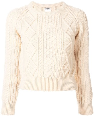Chanel Pre Owned Cable Knit Sweater