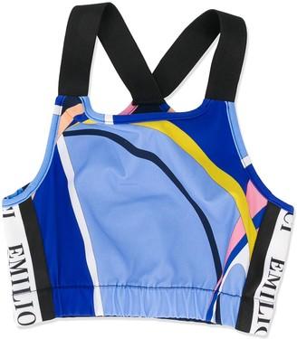 Emilio Pucci Junior Logo Stripe Bikini Top
