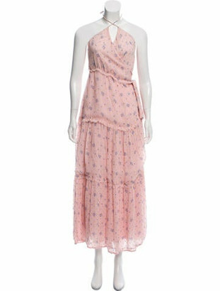 LoveShackFancy V-Neck Silk Dress pink