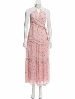 LoveShackFancy V-Neck Silk Dress pink