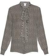 Oscar de la Renta Tie-neck zig-zag print silk shirt