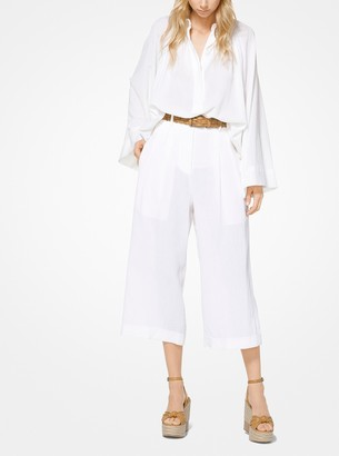 Michael Kors Collection Linen-Crepe Cropped Trousers