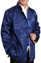 Interact China Chinese Tai Chi Kungfu Reversible Blue / Gold Jacket Blazer 100% Silk Brocade