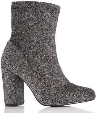 Quiz Grey Textured Block Heel Ankle Boots