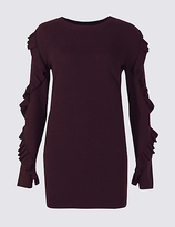 M&S Collection Round Neck Ruffle Sleeve Longline Jumper
