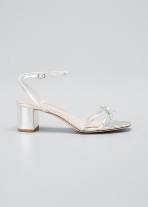 Loeffler Randall Gracie Leather Bow Ankle-Strap Sandals