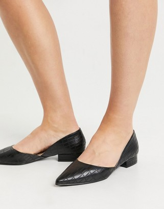 Raid Harvey two part flat shoes in black croc