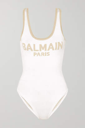 Balmain Metallic Intarsia Knitted Bodysuit - White