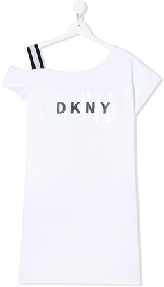 DKNY TEEN laminated logo print T-shirt dress