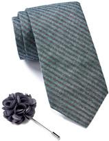 Ben Sherman Stripe Tie & Floral Lapel Pin Box Set