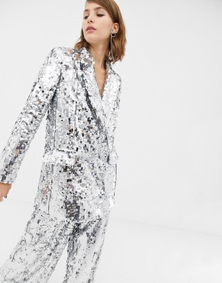 Asos Edition EDITION double breasted blazer in sequin-Silver