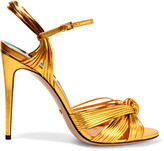 Gucci Metallic Leather Sandals - Gold