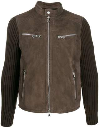 Al Duca D'Aosta 1902 knitted sleeves leather jacket