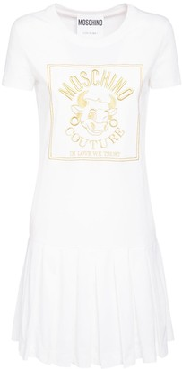 Moschino Embroidered Logo Cotton Jersey Dress