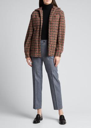 Kiton Checked Cashmere-Blend Oversized Shirt