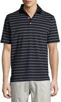 Peter Millar Tradeshow Stripe Polo Shirt, Black
