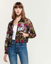 Hache Sheer Mesh Floral Embroidery Bomber Jacket