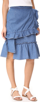 Sjyp Ruffle Denim Skirt