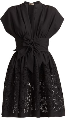 Alaia Bow-Waist Pointelle Fit-&-Flare Dress