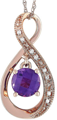 Non Branded 14K Rose Gold 0.03 Ct. Tw. Diamond & Amethyst Necklace