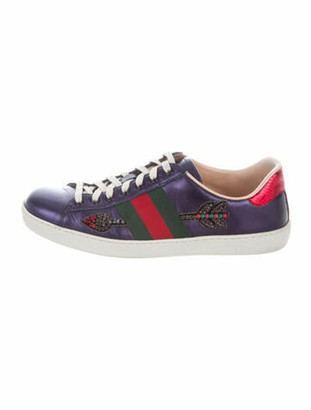 Gucci Leather Printed Sneakers Blue
