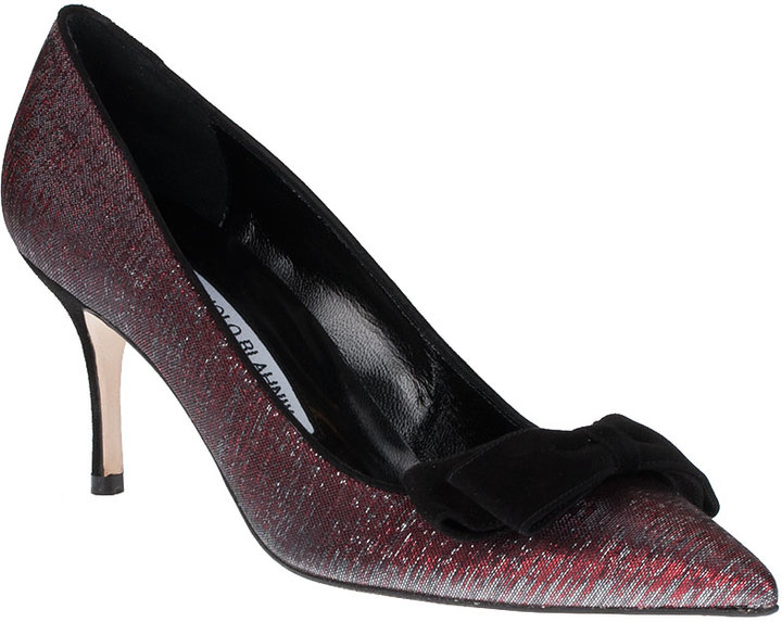 Manolo Blahnik Boa red glitter fabric pump