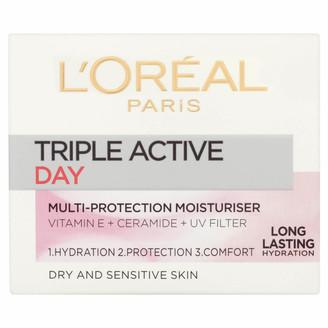 L'Oreal Dermo Expertise Triple Active Day Multi-Protection Moisturiser - Dry / Sensitive Skin (50ml)