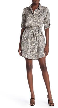 Velvet Heart Anita Snake Print Roll Sleeve Shirt Dress