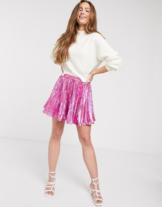 Asos DESIGN sequin pleated mini skirt in pink
