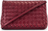 Bottega Veneta Leather Woven Crossbody Bag in Bordeaux & Gold | FWRD