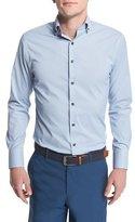 Peter Millar Gus Mini-Houndstooth-Check Performance-Fit Sport Shirt, Light Blue