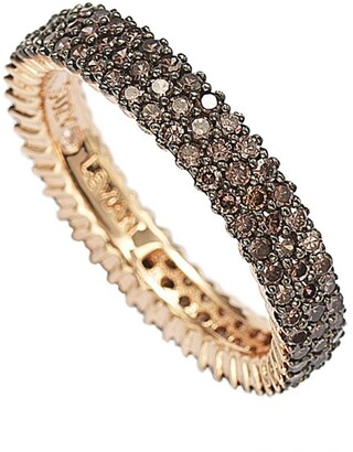 Suzy Levian 14K Rose Gold Plated Micro-Pave Brown CZ Eternity Band Ring