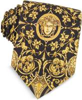 Versace Black and Gold Medusa Print Silk Tie