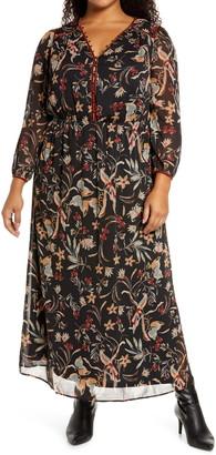 Daniel Rainn Floral Long Sleeve Peasant Maxi Dress