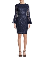 Carmen Marc Valvo Women's JEWEL NECK SEQUIN NOVELTY SHEATH WITH LONG SLEEVES AND FLOUNCE CUFF