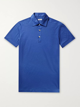 Kiton Cotton-Jersey Polo Shirt - Men - Blue