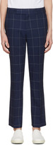 Paul Smith Navy Windowpane Check Trousers