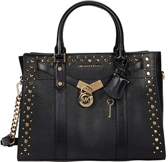 MICHAEL Michael Kors Nouveau Hamilton Large Satchel (Black) Handbags