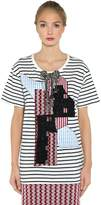 Antonio Marras Embellished Patch Striped Jersey T-Shirt
