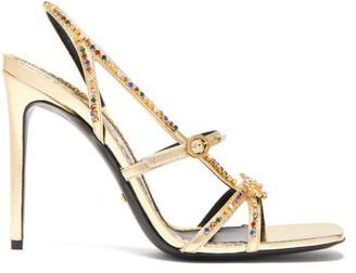 Gucci Carmen Crystal-embellished Metallic Sandals - Womens - Gold