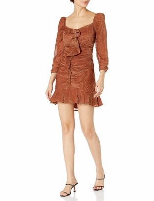 ASTR the Label Women's Sephra Sweetheart Neck 3/4 Sleeve Ruched Mini Dress
