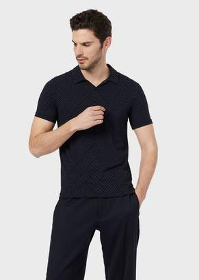 Giorgio Armani Polo Shirt In Stretch Jersey With Exclusive Flocked Design